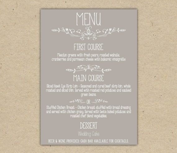 Items Similar To Wedding Menu, Dinner, Custom. Wedding