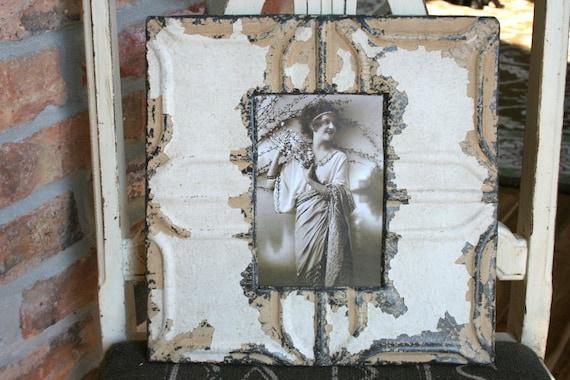 Genuine Antique Ceiling Tin Picture Frame --  4 x 6 -- Antique White Paint