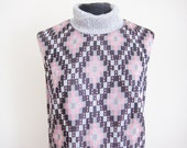 Vintage 60's Silver Pink Geometric Maxi Dress