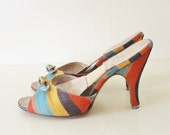 Vintage 50's Multi Color Sabrina Springolator Mule Kitten Heel Shoes 5 1/2 B VLV