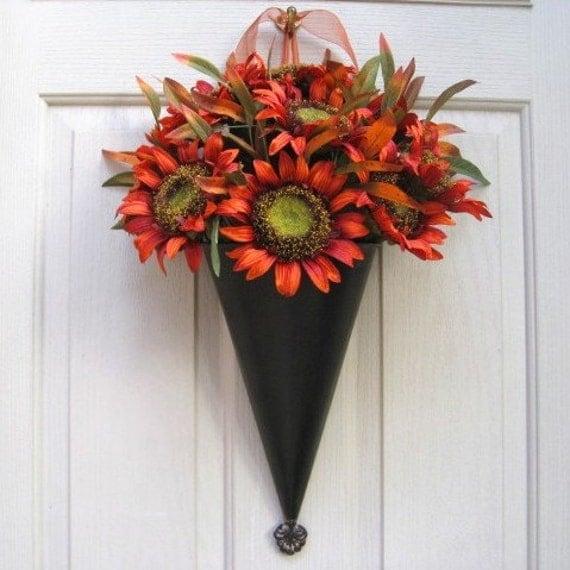Fall Wreath, Autumn Wreath, Orange Sunflower Door Pocket, Floral Wreath for Front Door