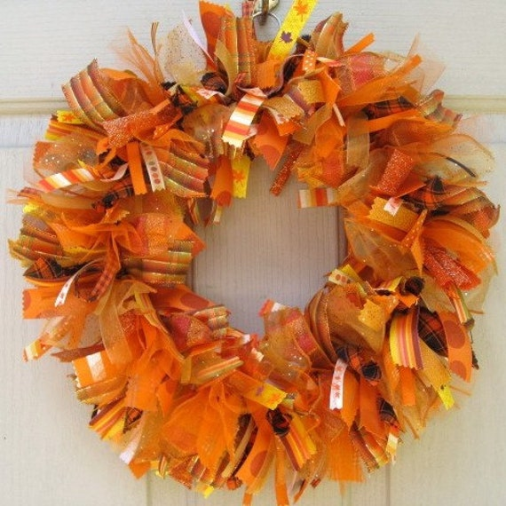 fall wreath ideas wreaths fabric wreath ribbon wreath in orange and 31640