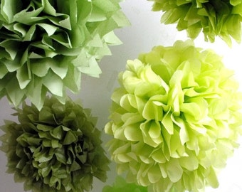 choose your colors ... 5 tissue paper poms // weddings // diy kit // birthday party decorations // beach wedding // bridal baby shower