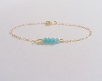 Coy blue (bracelet) - Tiny light blue crystals and 14k Gold-Filled