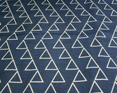 """Upholstery fabric, Cotton/Linen  - """"Dancing Triangles"""" Jeans Blue and white ( Fat Quarter 27""""x18"""")"""