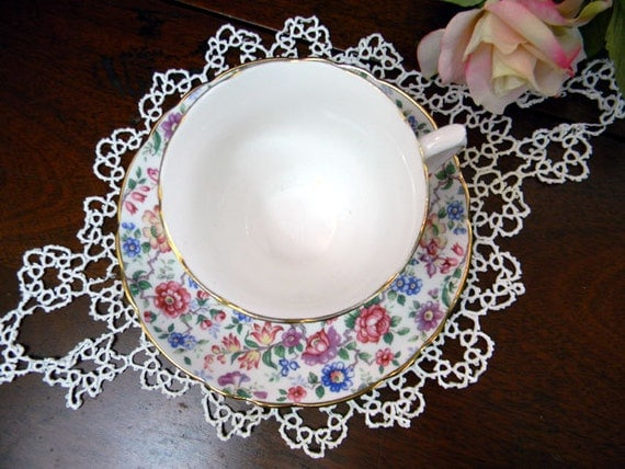 Crown Staffordshire Chintz Footed Teacup Tea Cup and Saucer 8380