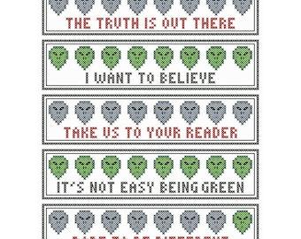 Set of Five ALIEN HEAD Cross Stitch Bookmark / Pincushion Charts