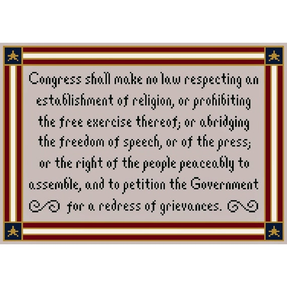 FIVE FREEDOMS First Amendment Inspired Cross Stitch Chart