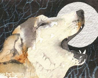 LUNA and the moon WOLF  aceo watercolor giclee PRINT - Free Shipping