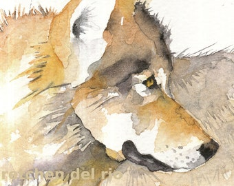 JOURNEY aceo WOLF watercolor giclee PRINT spirit totem animal - Free Shipping