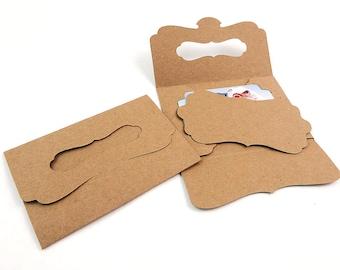 "Gift Card Holders - 20 Kraft folders with bracket insert card, gift certificate envelope, eco photo packaging, invitation card - 4.5"" x 3"""