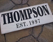 Custom family last name and est. wooden sign by Dressingroom5