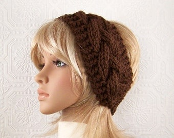 Hand knit headband head wrap ear warmer - brown cable headband - Womens Winter Fashion Accessories Sandy Coastal Designs - made to order