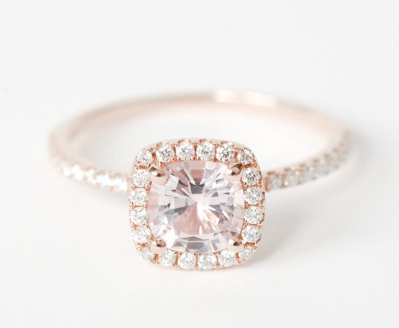 Certified Peach Pink Cushion Sapphire Diamond Halo Engagement Ring 14K Rose  Gold