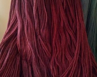 Hand Dyed Alpaca Merino Silk Yarn- Grape Cranberry-light worsted weight