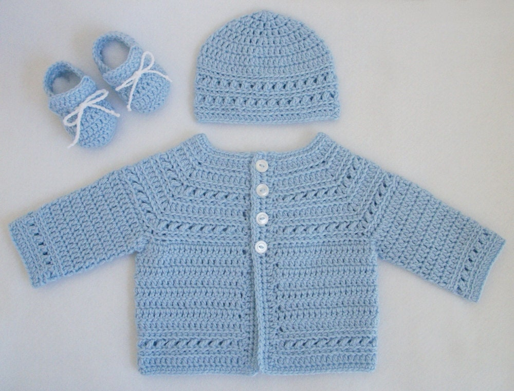 Crocheted Baby Boy Sweater Hat Booties Set Pale Blue