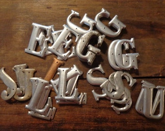 U Pick 1 Letterpress Style Vintage Metal Letters, for signs, keepsake gift tags,  cards, table decor, stockings,  matte silver hue, 3 D