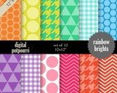 buy2get1 digital paper pack for scrapbooking, card making, printing - rainbow brights