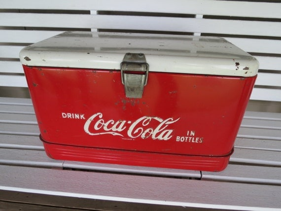 Vintage coca cola ice chest cooler for 1 door retro coke cooler