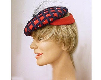 1950's red and black wool LUCY hat with feather and sequins