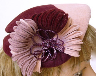 "1950's Atomic Era ""Lucy"" Pink and Burgundy Velour Hat"
