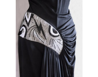1980's Black Designer Disco Cocktail Party Dress with Ruched bodice and Beaded Applique