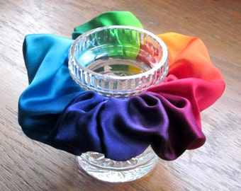 Silk Satin Rainbow Scrunchie
