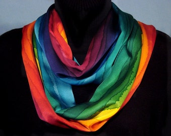 Rainbow Stripe Hand Dyed Silk Infinity Circle Scarf