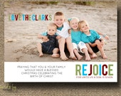 "CHRISTMAS PHOTO CARD: "" Rejoice, for unto us a Child is born"" - Custom"
