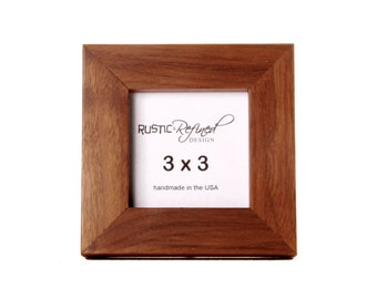"""3x3 1"""" Gallery Picture Frame - Solid Black Walnut - Free Shipping - Hand Made in USA"""