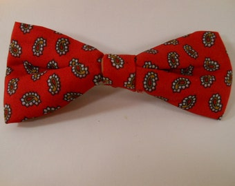 Vintage Little Boys Tiny Red and White Paisley Cute Bowtie