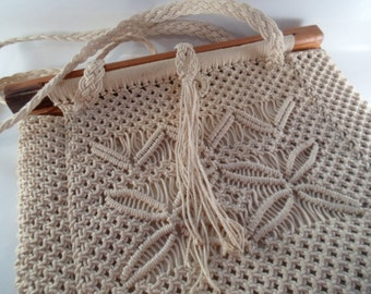 Vintage Macrame Handmade Pretty Pattern  With Wood Handle and Shoulder Strap Natural Handbag