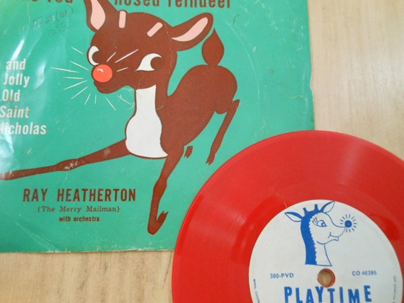 Vintage Rudolph the red nose Reindeer and Jolly old Saint Nicholas Red childrens vinyl record