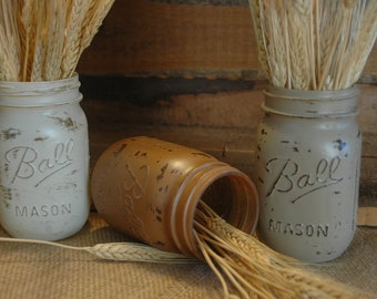 Wheatfield painted mason jar collection