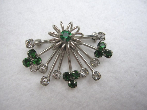 Vintage Sterling Silver atomic sputnik star faux Emerald & Diamond Rhinestone Crystal Brooch Pin Pendant  Mad Men something old