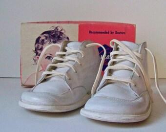 Vintage Leather Baby Shoes Original Box 1950s Wee Walker Pink Box Baby Shower Photo Prop Studio Display