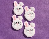 """Bunny Machine Embroidered  Embellishments / Appliques - Set Of 4 - 2"""" - Ready To Ship"""