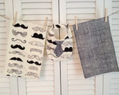Two Baby Boy Burp Cloth and Bib Set Alexander Henry Mustache