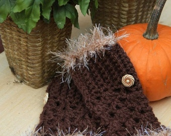 Fingerless Gloves with Brown Fur and Vintage Buttons