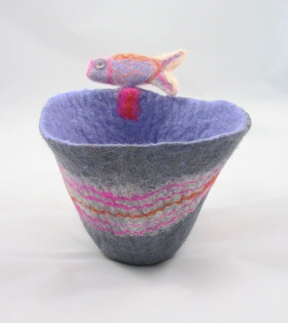 Grey Felt Bowl and Pebble with Needle Felted Fish