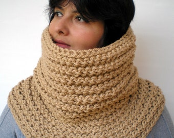 Warm Beige Big Cowl Hand Knit Circle Neckwarmer Scarf  Soft  Wool Unisex Cowl  NEW COLLECTION