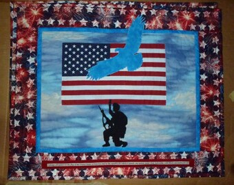 Blue Eagle,USA flag,soldier,pledgeofallegiance quilted wall hanging