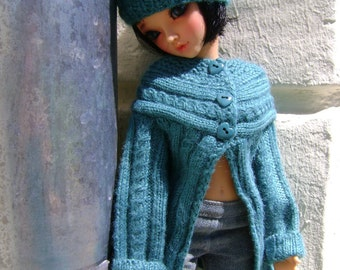 88. French and english knitting pattern PDF - Cardigan and beret for Ellowyne Wilde