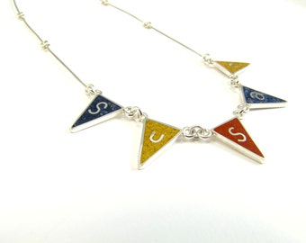Personalized Necklace, Flag Name,  Sterling Silver Necklace, Fun and Modern