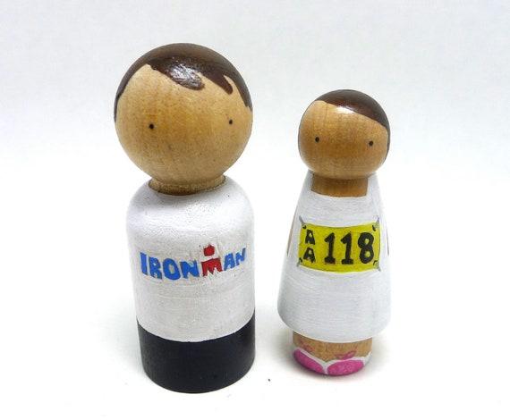 Wooden Peg Doll Wedding Cake Topper Runners