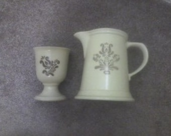 Vintage Pfaltzgraff VILLAGE Coffee Tea Creamer Cold Drink Pitcher and BONUS Goblet Replacement Pieces