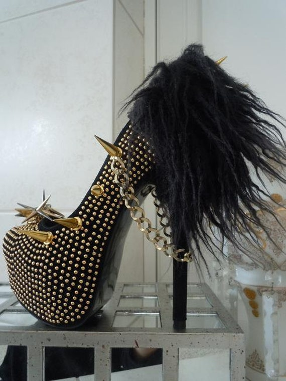More Picture For high heel platform spiked women shoes black size 8 a