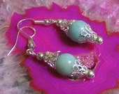 AMAZONITE and Silver dangle Earrings - mint green accessories for your wardrobe