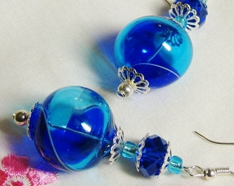 Stunning Cobalt & Sky Blue VENETIAN hand blown glass earrings with sterling silver hooks