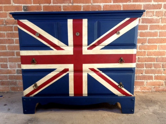FREE NYC DELIVERY Painted Union Jack Dresser Dresser